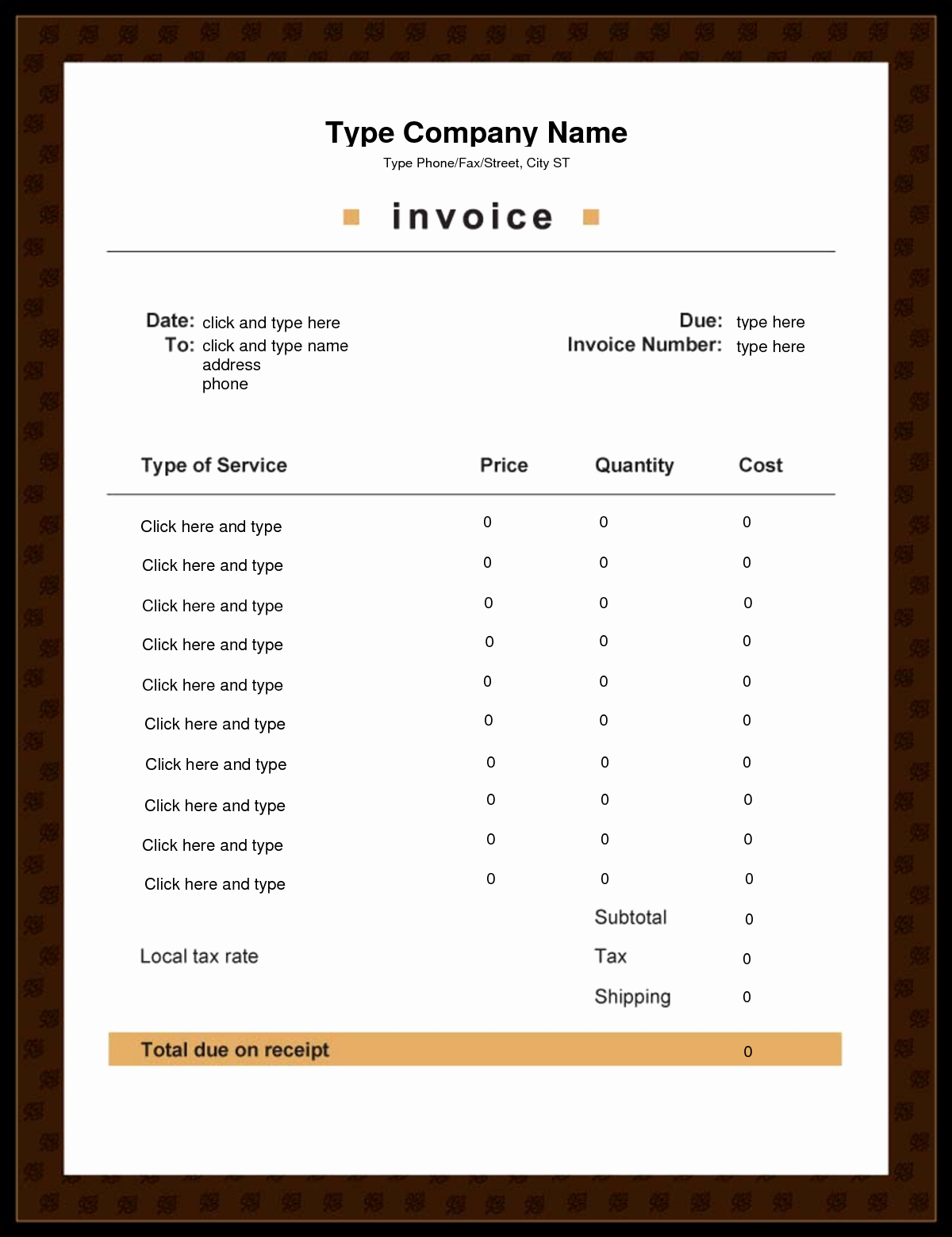 Free Downloadable Templates for Word Lovely Editable Invoice Template