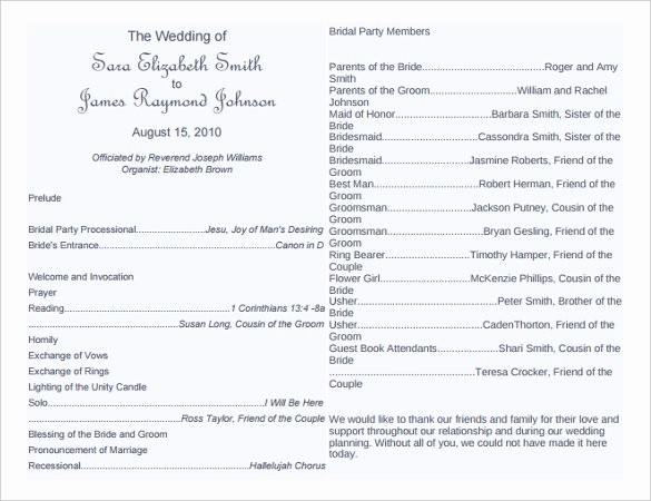 Free Downloadable Wedding Programs Templates Awesome 67 Wedding Program Template Free Word Pdf Psd