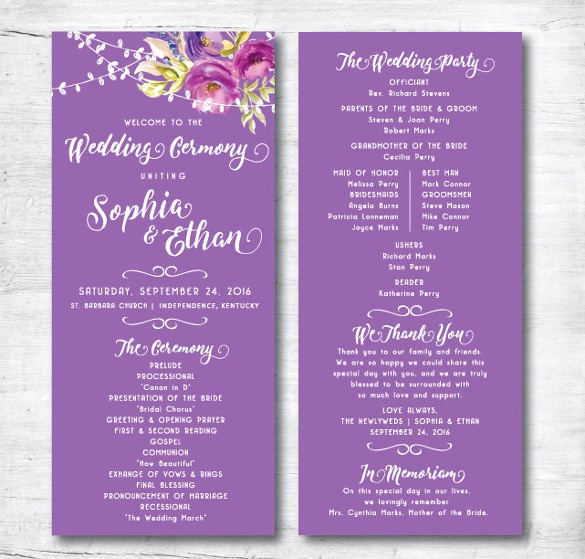 Free Downloadable Wedding Programs Templates Elegant Wedding Program Template 41 Free Word Pdf Psd