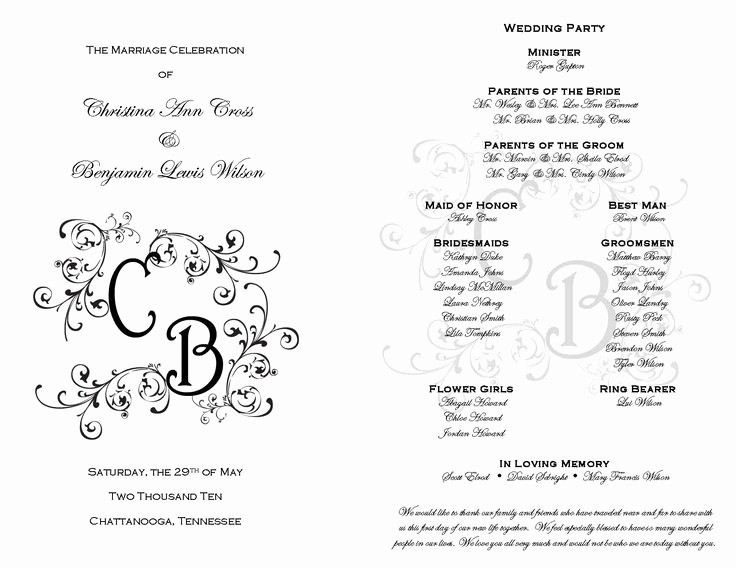 Free Downloadable Wedding Programs Templates Fresh Free Printable Wedding Programs Templates