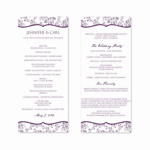 Free Downloadable Wedding Programs Templates Inspirational Instant Download Wedding Program Template by Karmakweddings
