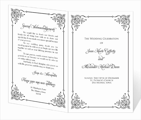 Free Downloadable Wedding Programs Templates Inspirational Wedding Program Template 41 Free Word Pdf Psd