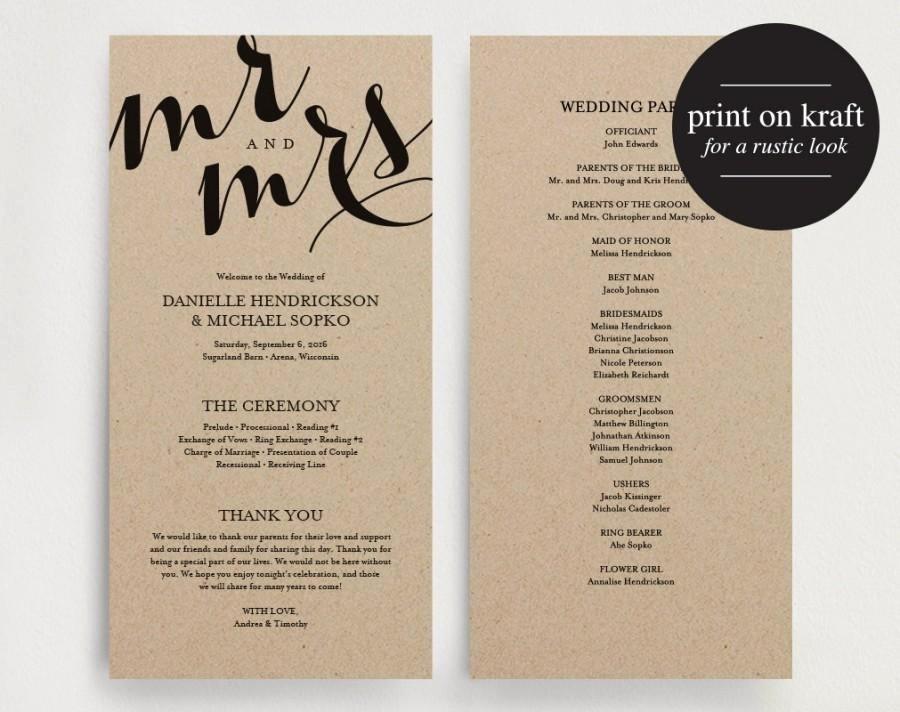 Free Downloadable Wedding Programs Templates Lovely Wedding Program Printable Template Printable Program