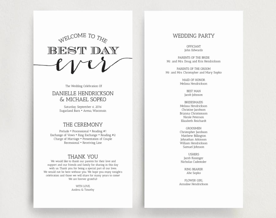 Free Downloadable Wedding Programs Templates Lovely Wedding Programs Wedding Program Instant Download