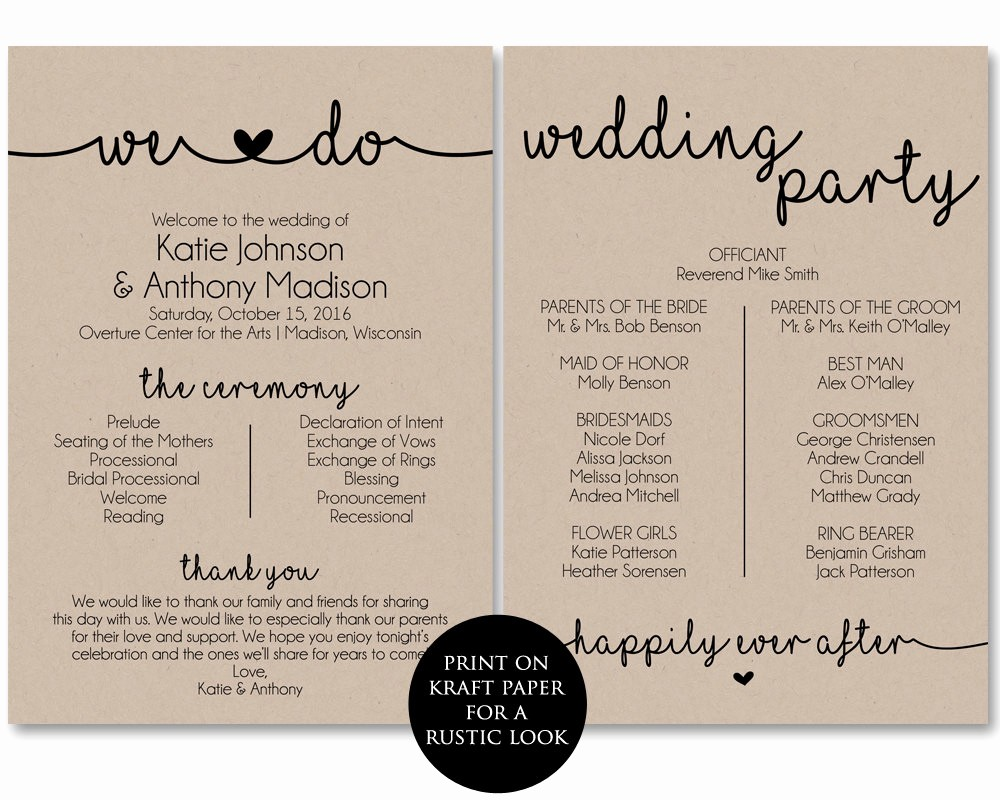 Free Downloadable Wedding Programs Templates New Ceremony Program Template Printable Wedding Programs