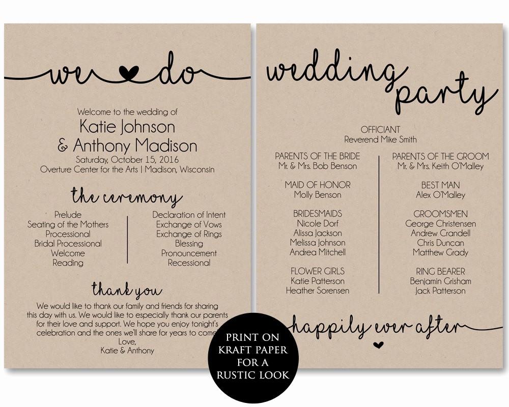Free Downloadable Wedding Programs Templates New Ceremony Program Template Printable Wedding Programs