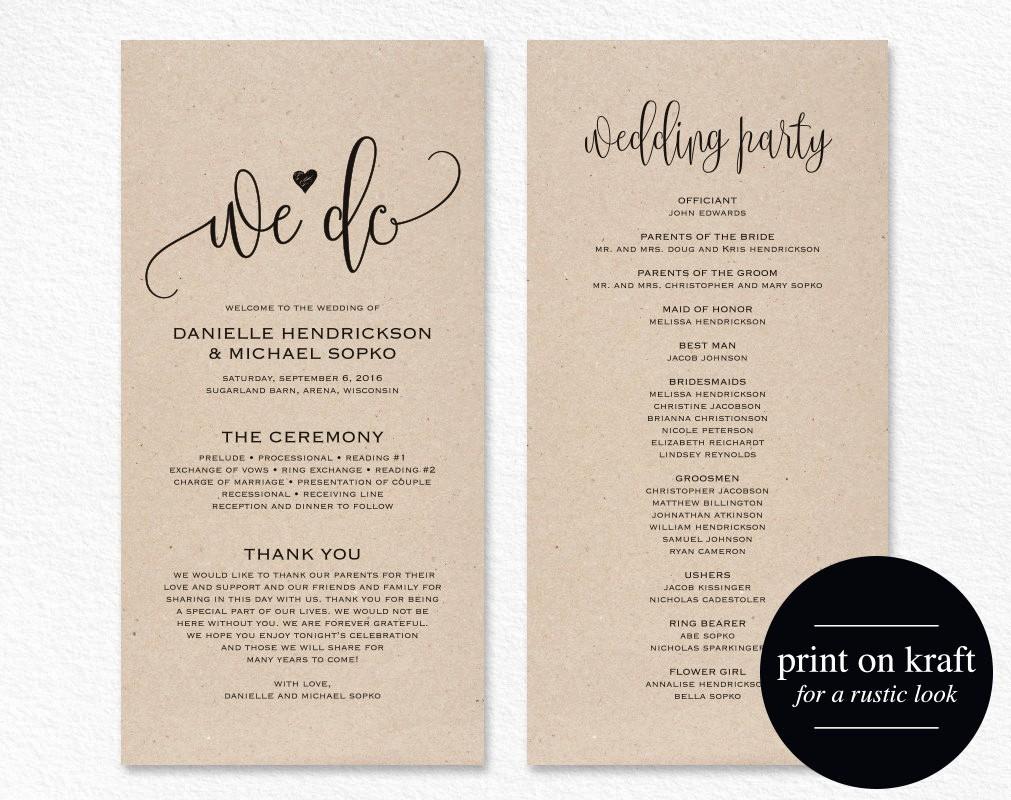 Free Downloadable Wedding Programs Templates New Wedding Program Template Wedding Program Printable We Do