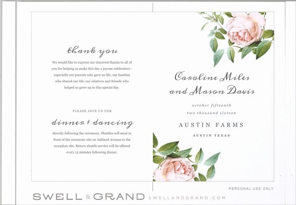 Free Downloadable Wedding Programs Templates New Wedding Program Templates – 15 Free Word Pdf Psd