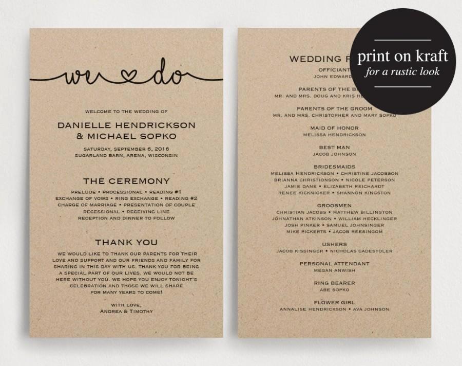 Free Downloadable Wedding Programs Templates New Wedding Programs Instant Download Printable Template