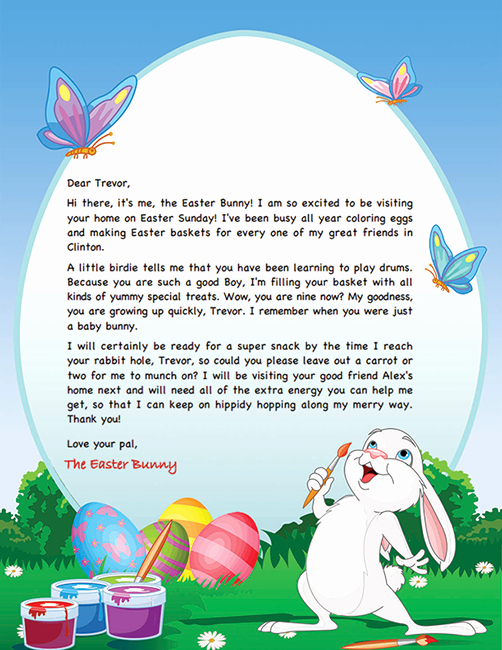 Free Easter Templates for Word Inspirational Easter Bunny Letter Example Personalized Letters From