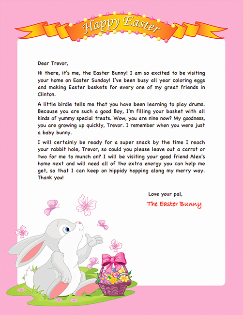 Free Easter Templates for Word Luxury Easter Bunny Letter Example Personalized Letters From