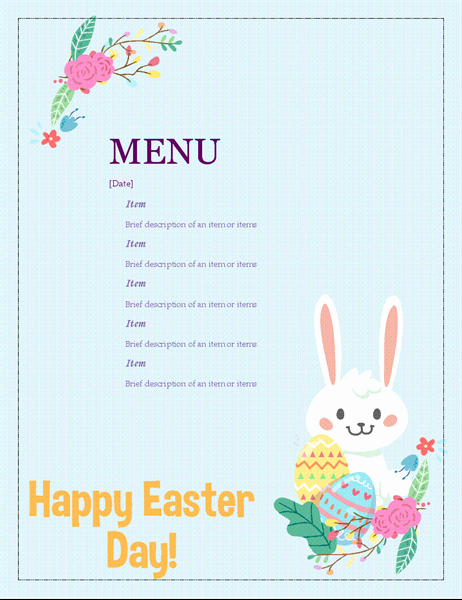 Free Easter Templates for Word Luxury Easter Party Menu