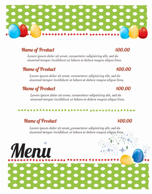 Free Easter Templates for Word Unique Free Easter Restaurant Menu Templates for Shop and