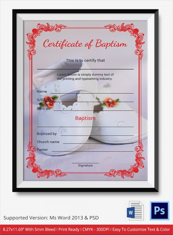 Free Editable Baptism Certificate Template Beautiful 20 Baptism Certificates