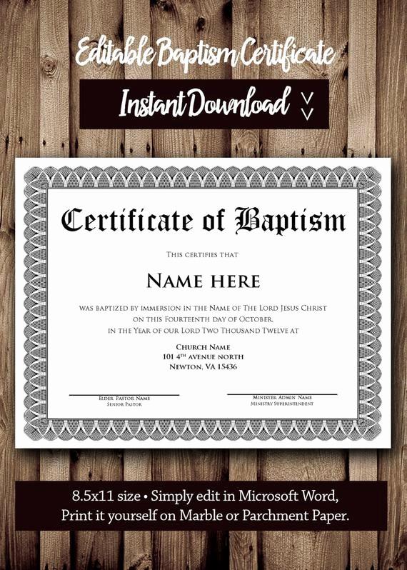 Free Editable Baptism Certificate Template Beautiful Baptism Certificate Template Microsoft Word Editable