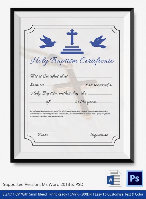baptism certificate