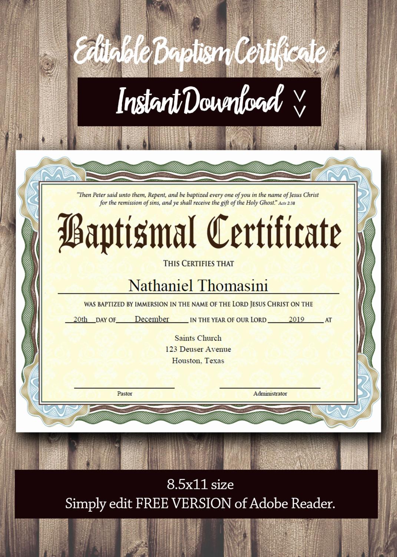 Free Editable Baptism Certificate Template Lovely Baptism Certificate Template Pdf Adobe Reader Editable File