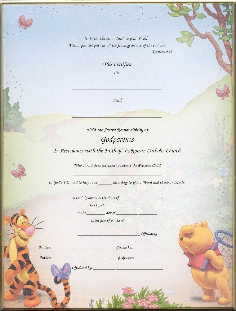Free Editable Baptism Certificate Template Lovely Christening Certificates for Godparents