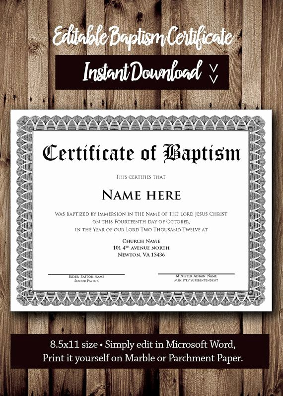 Free Editable Baptism Certificate Template New 62 Best Images About Award Certificates On Pinterest