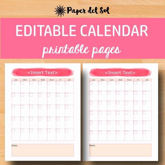 Free Editable Calendar for Teachers Awesome Editable Monthly Calendar 2018 Monthly Printable Calendar