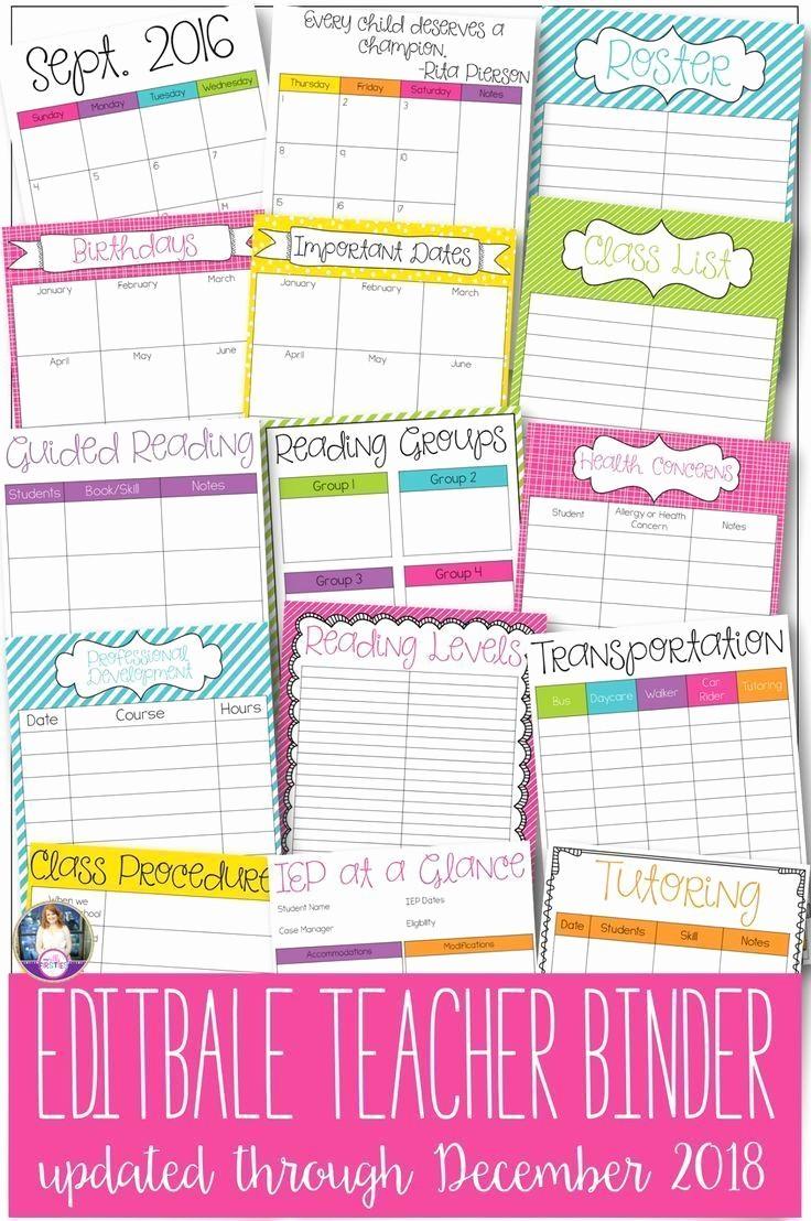 Free Editable Calendar for Teachers Elegant Editable Teacher Binder Over 50 Editable forms 2016 2018