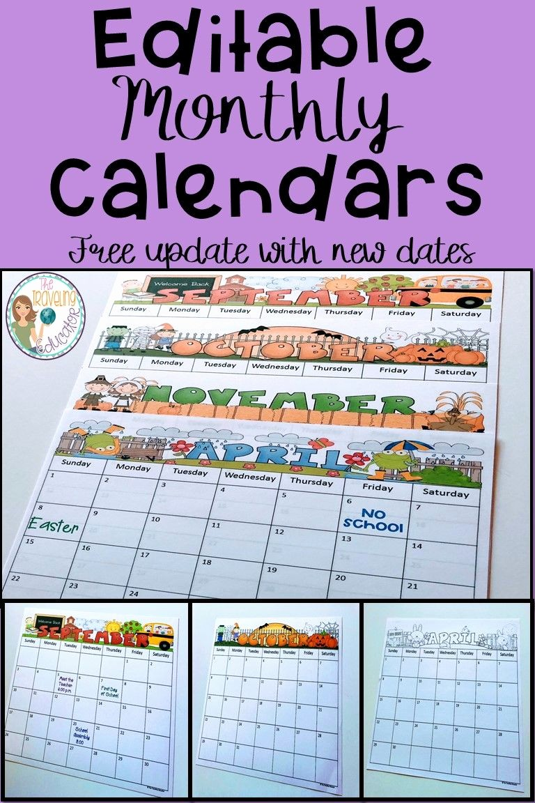 Free Editable Calendar for Teachers Fresh Monthly Calendar Editable Template 2018 2020