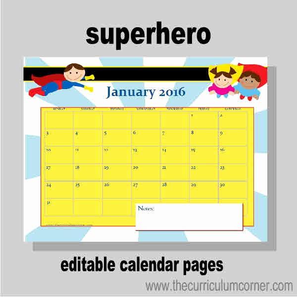 Free Editable Calendar for Teachers Fresh Planning Binder Calendar Pages the Curriculum Corner 123