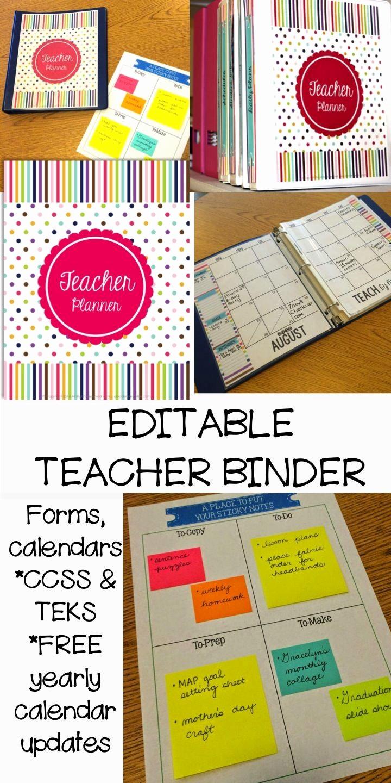 Free Editable Calendar for Teachers Fresh Teacher Binder and Planner Editable Free Updates