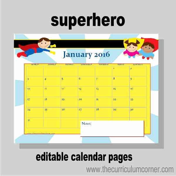 Free Editable Calendar for Teachers Inspirational Planning Binder Calendar Pages the Curriculum Corner 123
