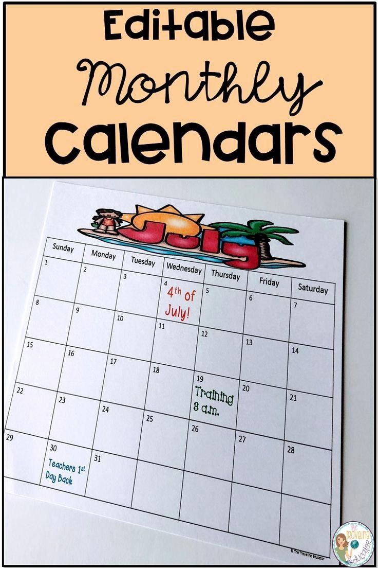 Free Editable Calendar for Teachers Lovely Best 25 Monthly Calendars Ideas On Pinterest