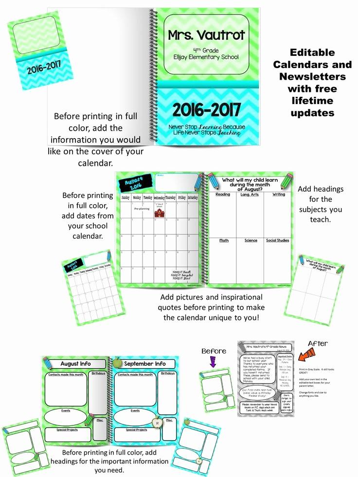 Free Editable Calendar for Teachers Lovely Editable Calendars and Newsletters Lime Green & Turquoise