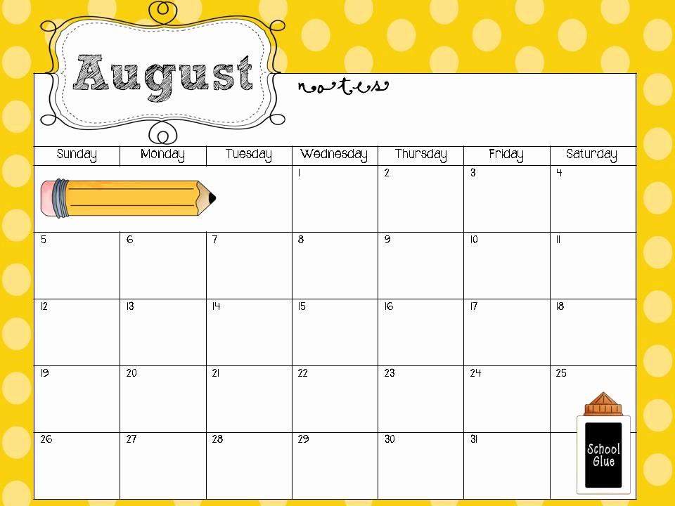 Free Editable Calendar for Teachers Lovely Free Editable Calendar for Teachers