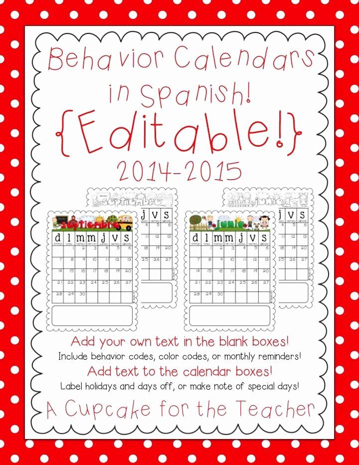 Free Editable Calendar for Teachers Luxury Editable Behavior Calendars 2014 2015… In Spanish Make