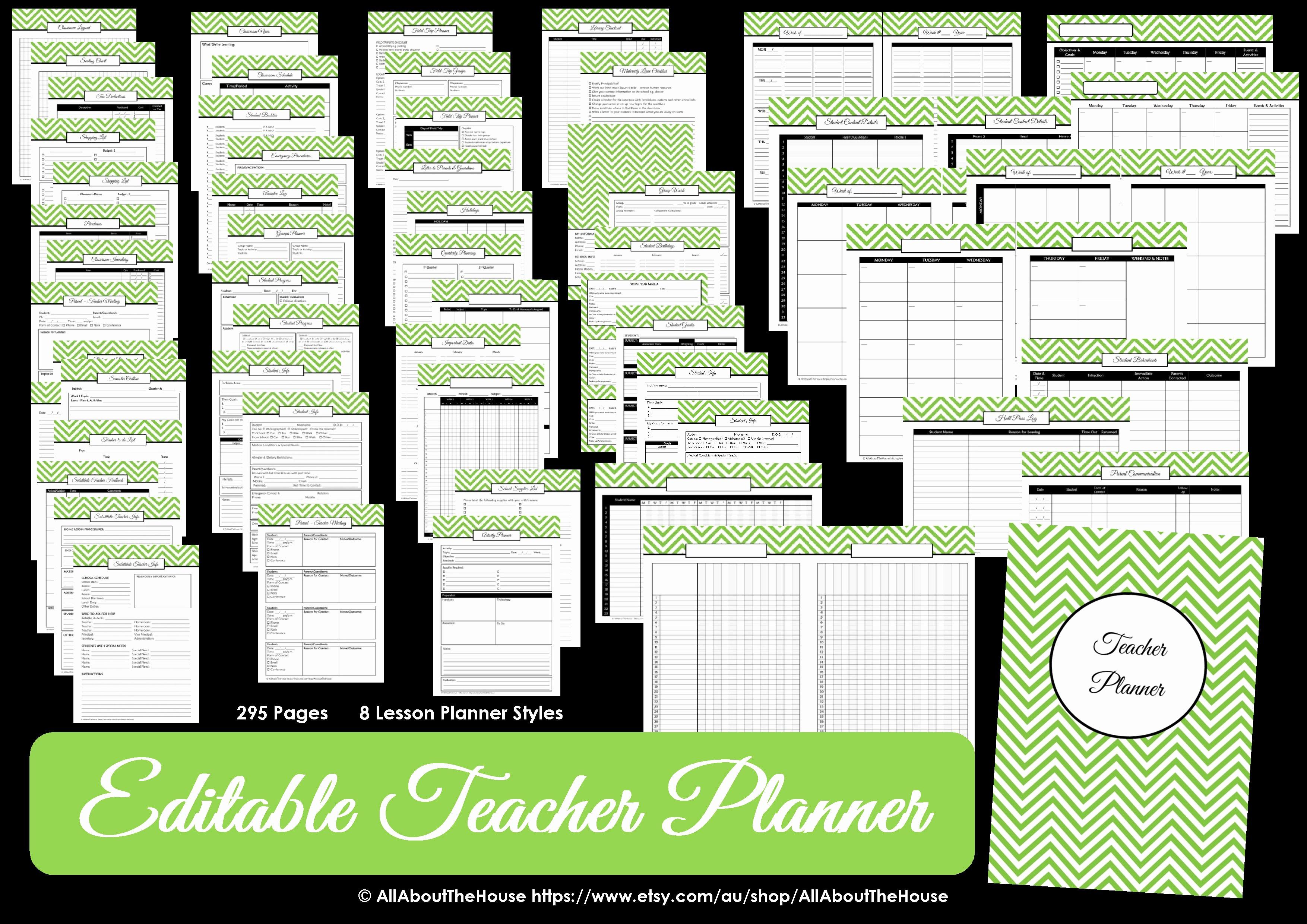 Free Editable Calendar for Teachers Luxury Editable Chevron Printable Teacher Planner