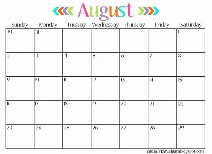 Free Editable Calendar for Teachers Luxury Free Editable Blank Calendar Template August 2016 for Moms