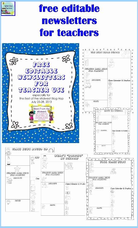 Free Editable Calendar for Teachers New Editable Newsletters for Teachers Five Templates Free Pdf