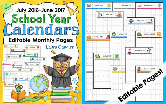Free Editable Calendar for Teachers New Free Editable Calendar for Teachers
