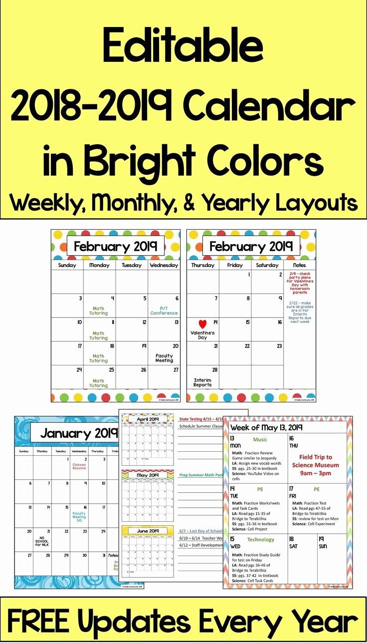 Free Editable Calendar for Teachers New This 2018 – 2019 Editable Calendar is Printable and is
