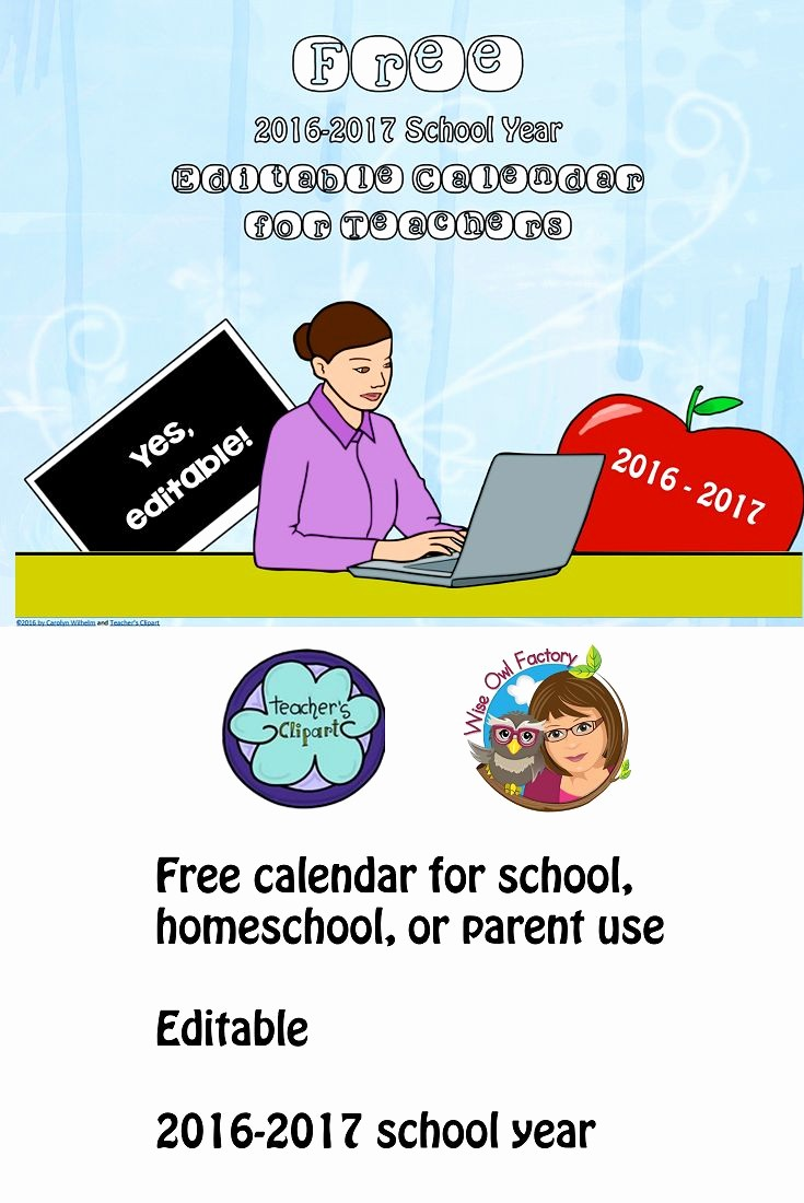Free Editable Calendar for Teachers Unique Back to School Free by Wiseowlfactory