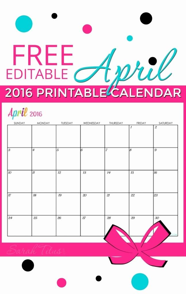 Free Editable Calendar for Teachers Unique Free Editable April 2016 Calendar for Teachers
