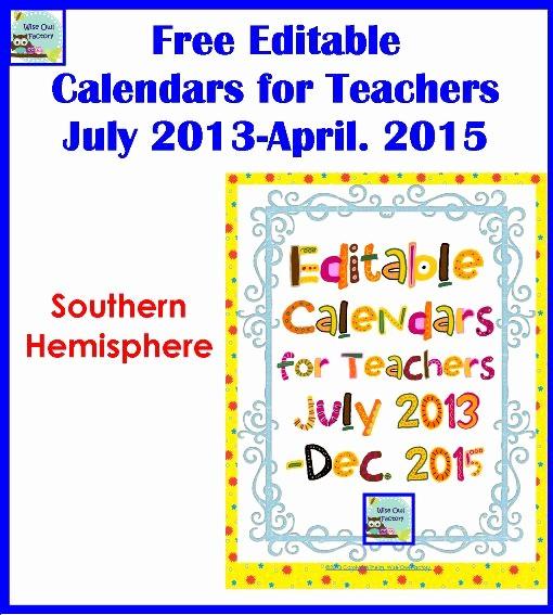 Free Editable Calendar for Teachers Unique Free Editable Teacher Calendars