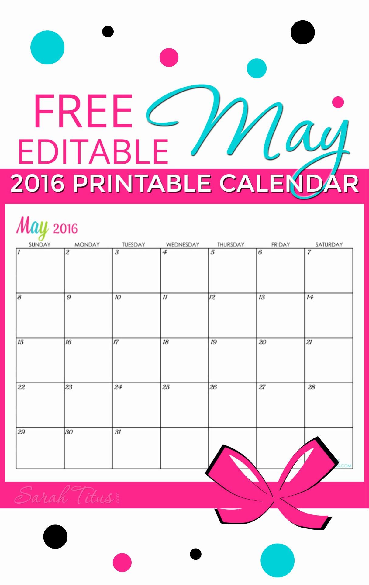 Free Editable Calendar Template 2015 Awesome Free Blank Line Calendar May 2016 Sarah Titus