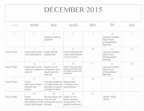 Free Editable Calendar Template 2015 Beautiful Free Editable Printable December 2015 Cleaning Calendar