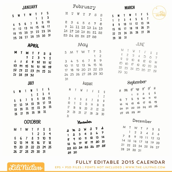 Free Editable Calendar Template 2015 Best Of 17 2015 Calendar Template Editable 2015 Monthly