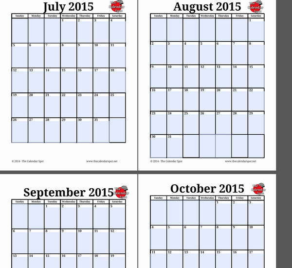 Free Editable Calendar Template 2015 Fresh 4 X 6 Monthly Calendar 2015 Printable Free