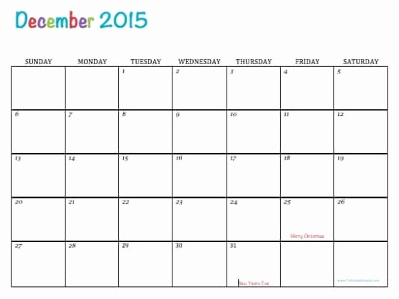 Free Editable Calendar Template 2015 Fresh Free Printable Calendar December 2015