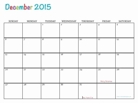 Free Editable Calendar Template 2015 Fresh Free Printable Calendar December 2015