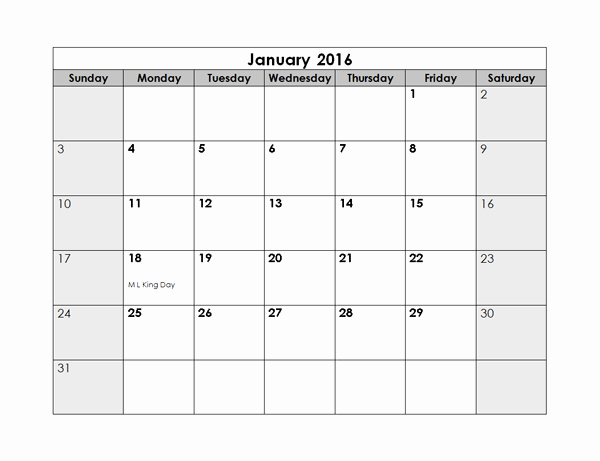 Free Editable Calendar Template 2015 Inspirational 2016 Monthly Calendar Free Printable Templates
