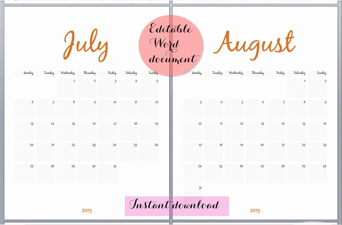 Free Editable Calendar Template 2015 Inspirational 24 Best Editable Calendar Templates & 2019 Designs