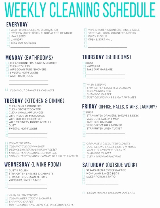 Free Editable Cleaning Schedule Template Fresh 7 Awesome Printable Cleaning Schedules